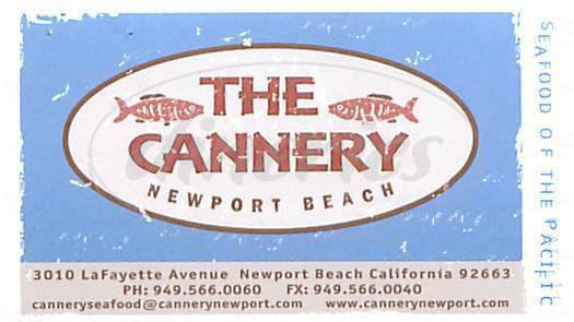 menu for The Cannery