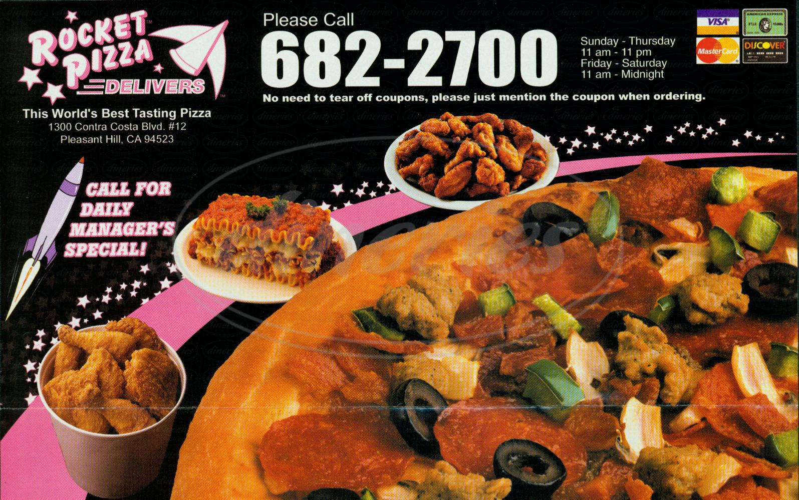 menu for Rocket Pizza