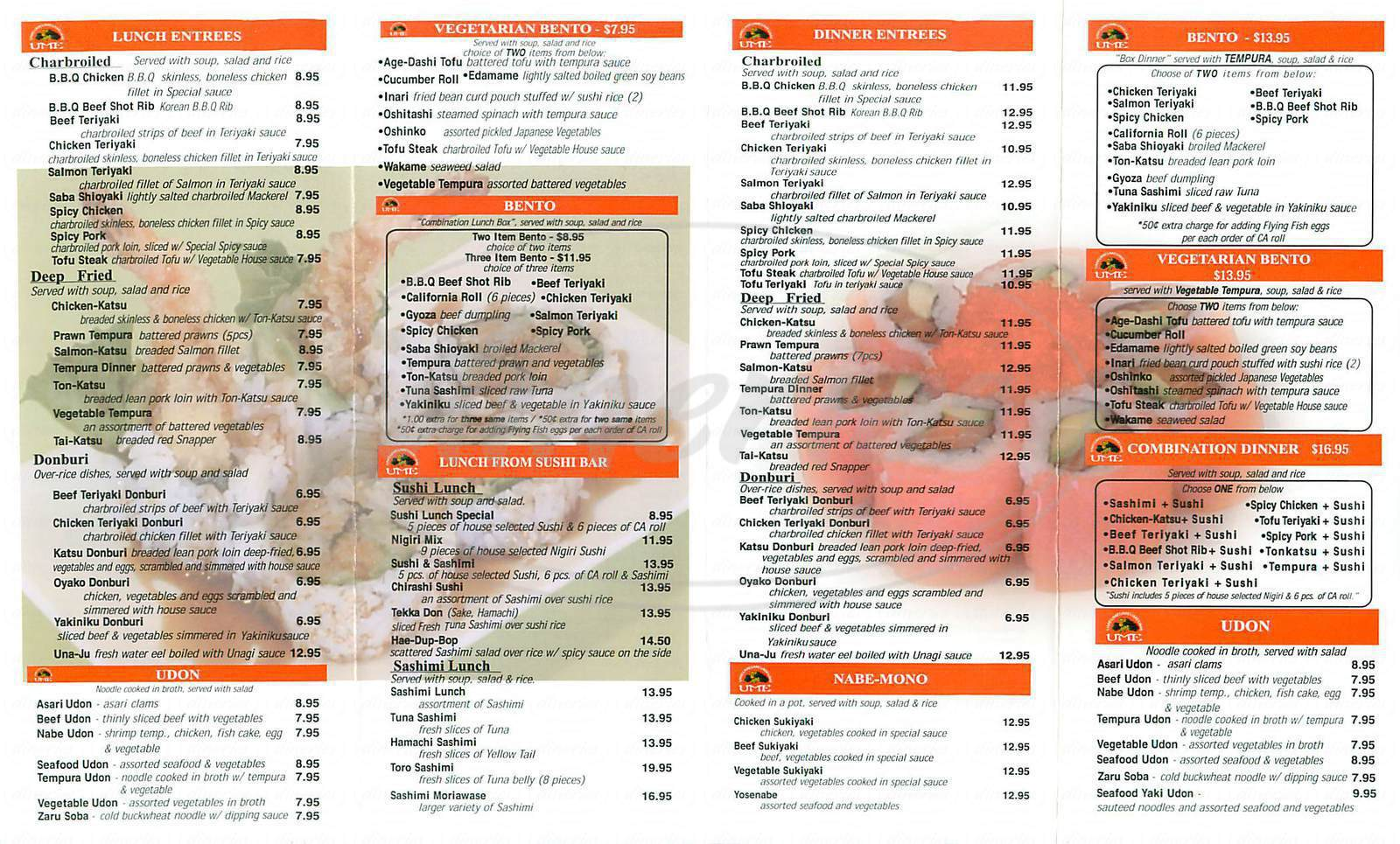 menu for Ume Sushi