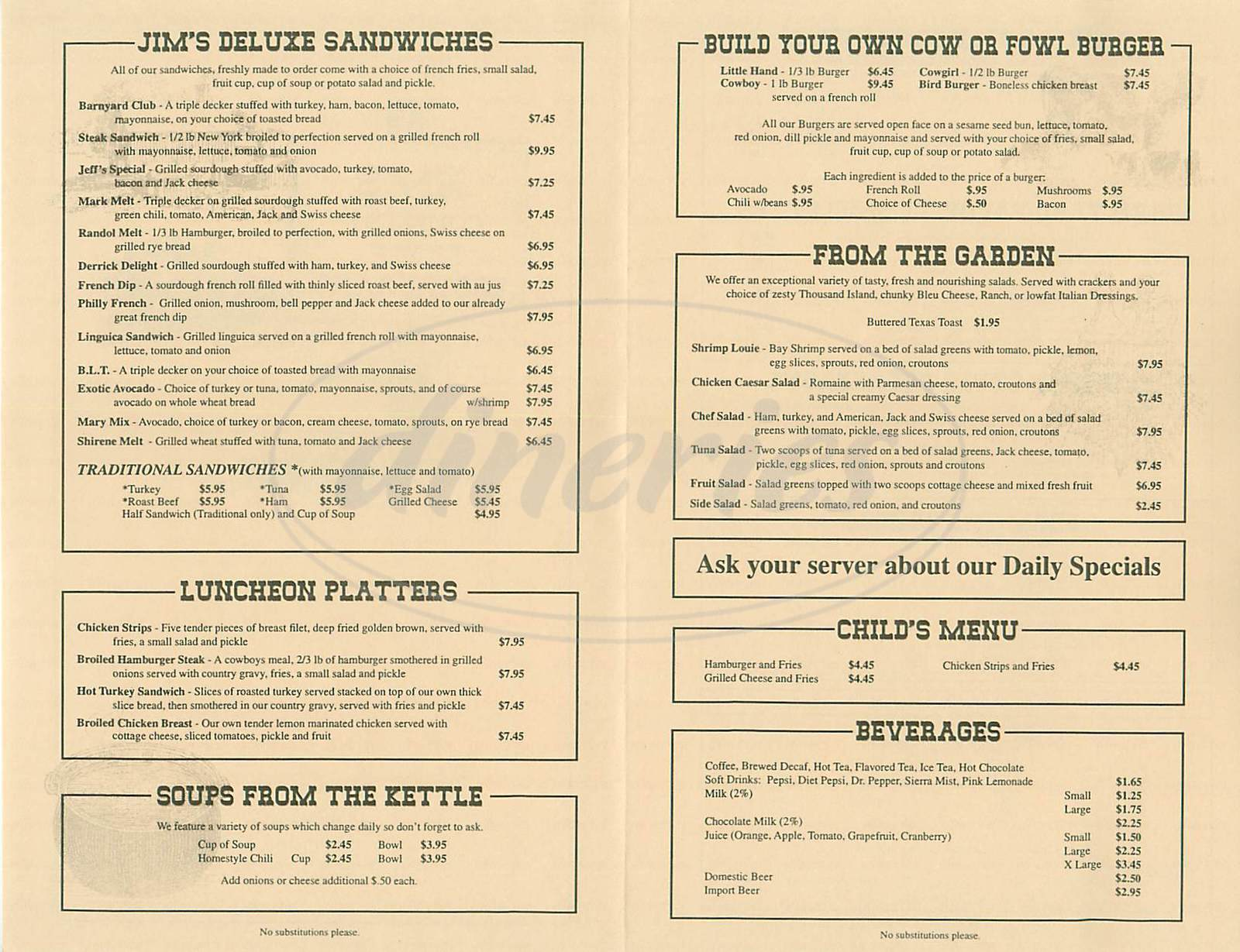 menu for Jims Country Style Restaurant