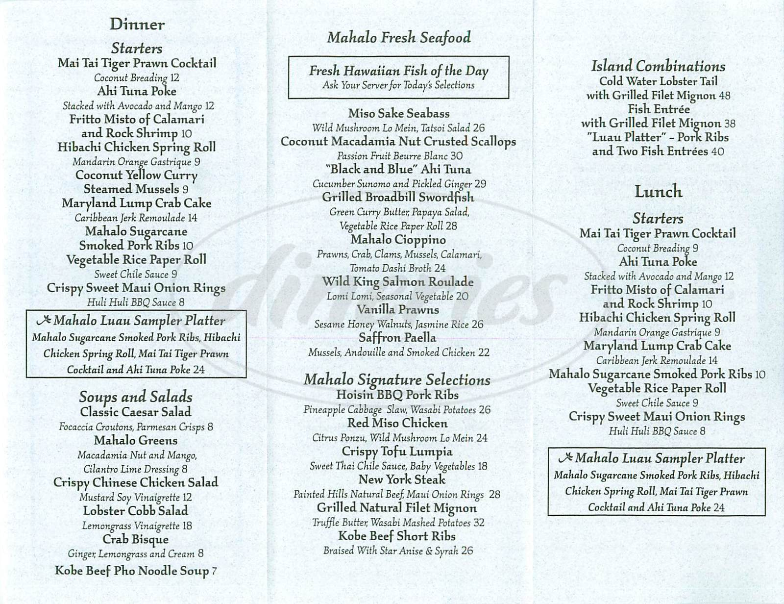 menu for Mahalo Grille