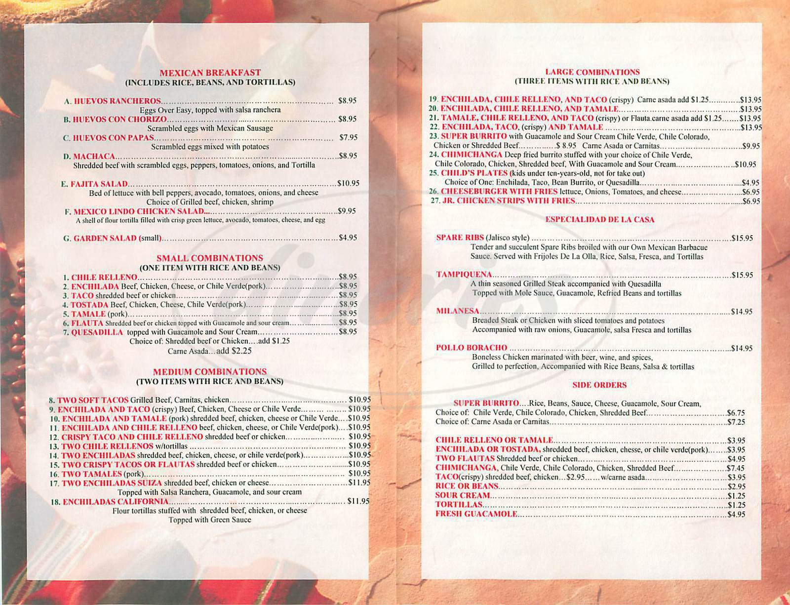 menu for Mexico Lindo