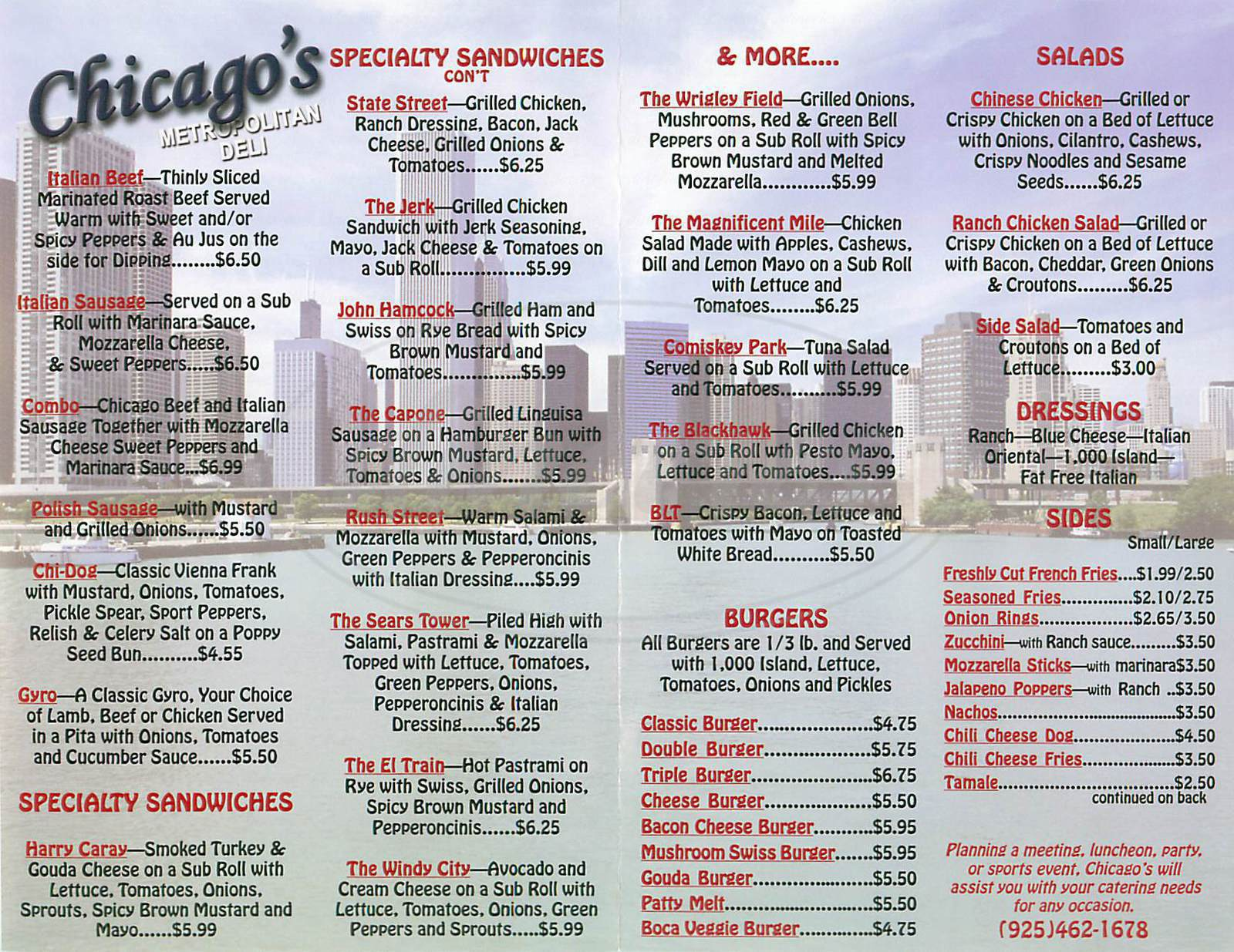 menu for Chicago Metropolitan Deli