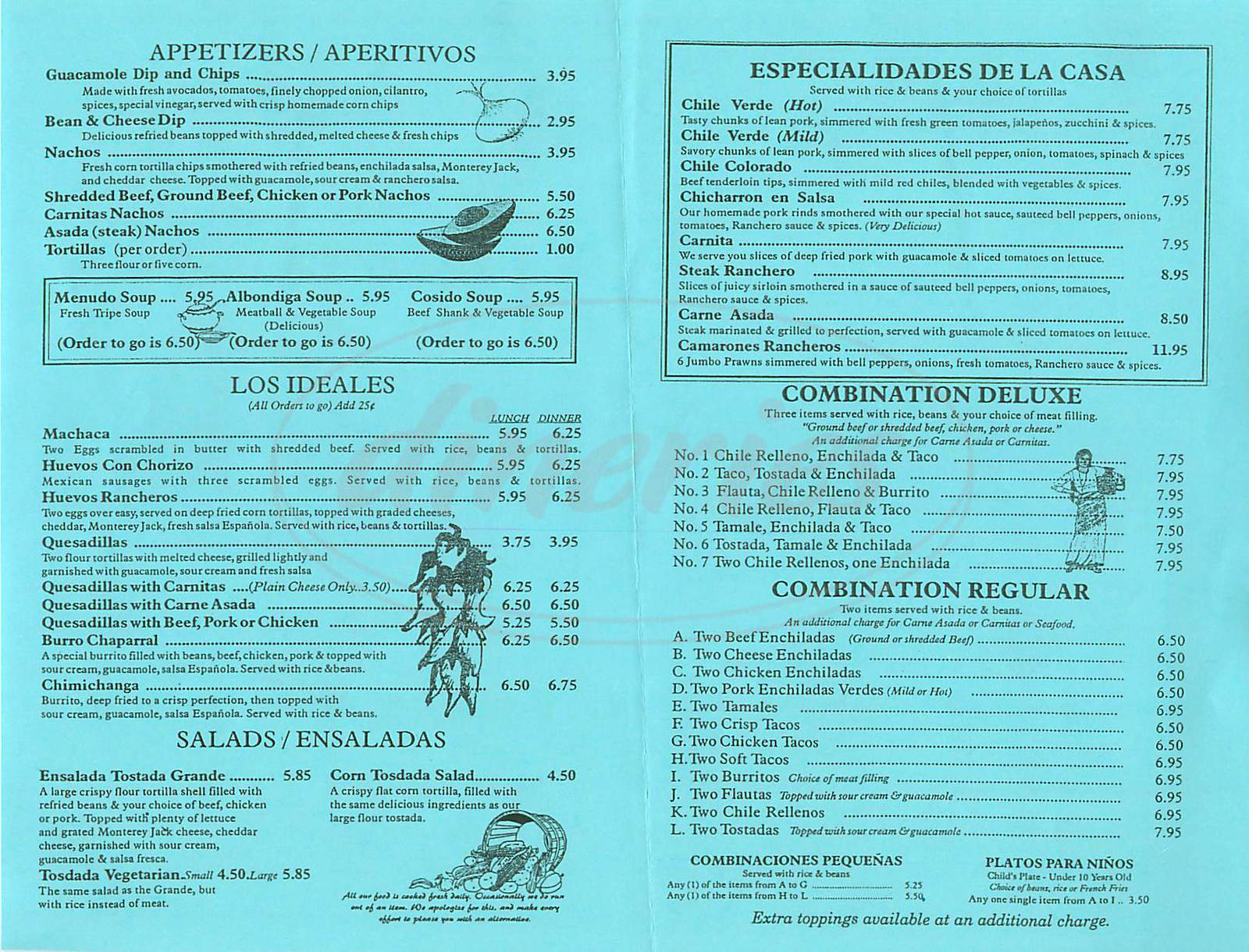 menu for El Molino