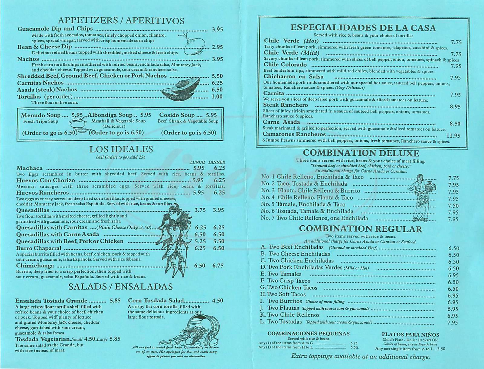 menu for El Molino