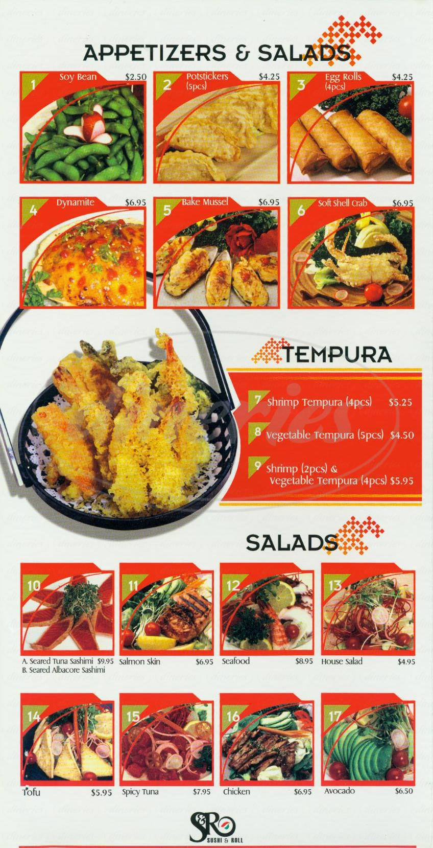 menu for S & R Sushi & Roll