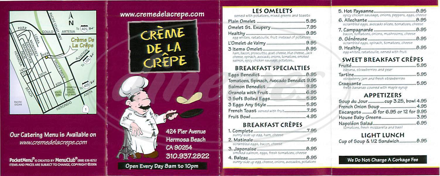 menu for Creme de la Crepe