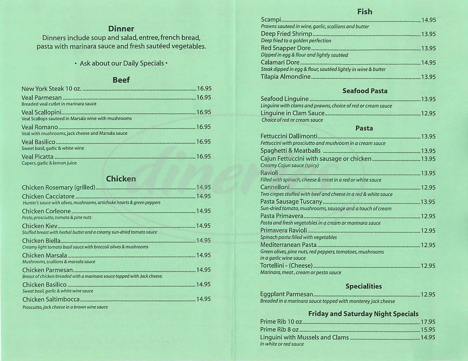 menu for Dallimonti's Restaurant
