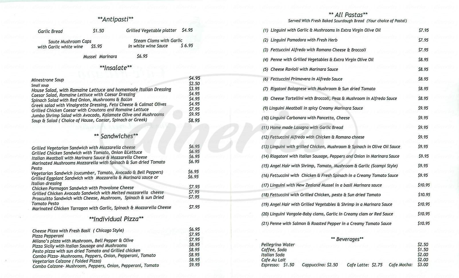 menu for Café Milano
