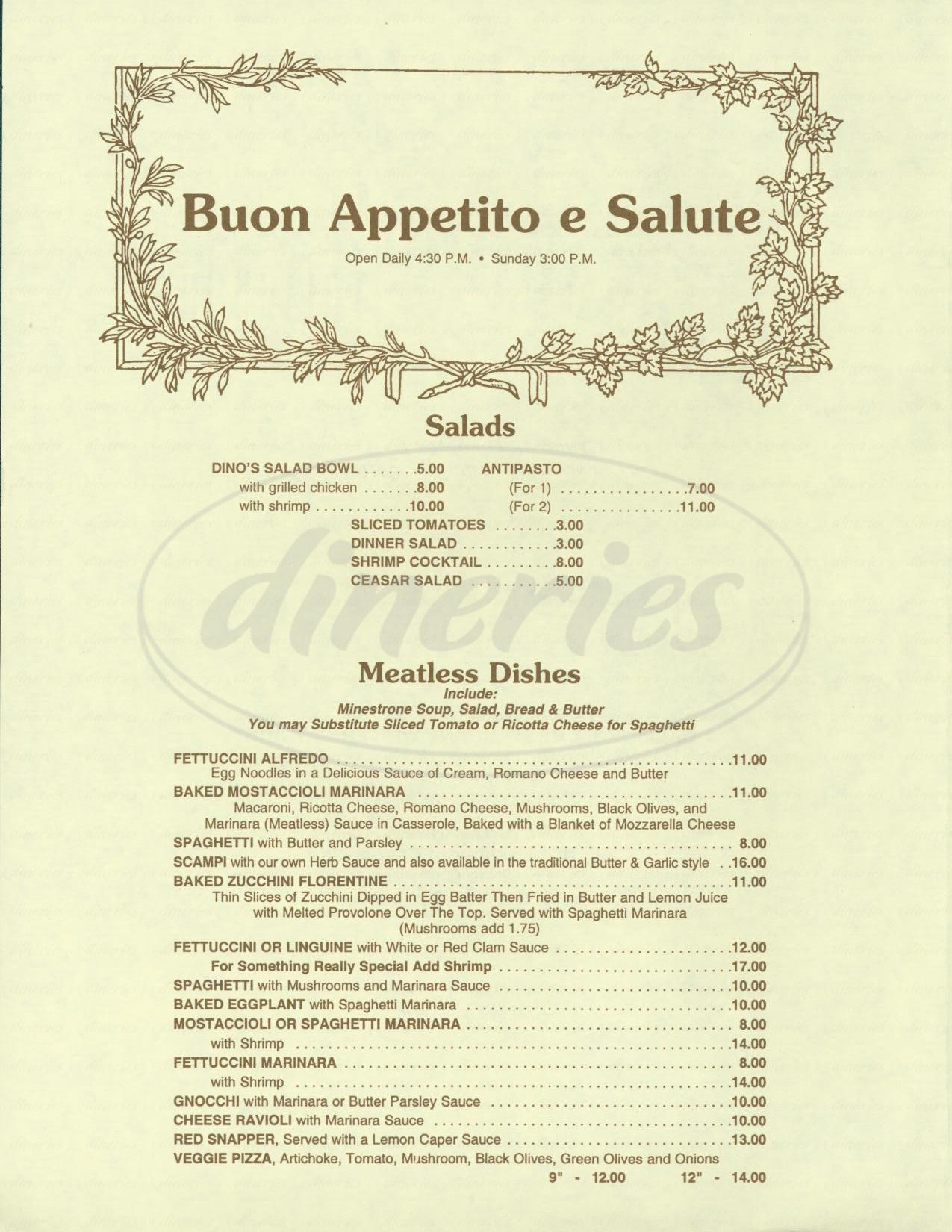 menu for Scarantinos Italian Inn