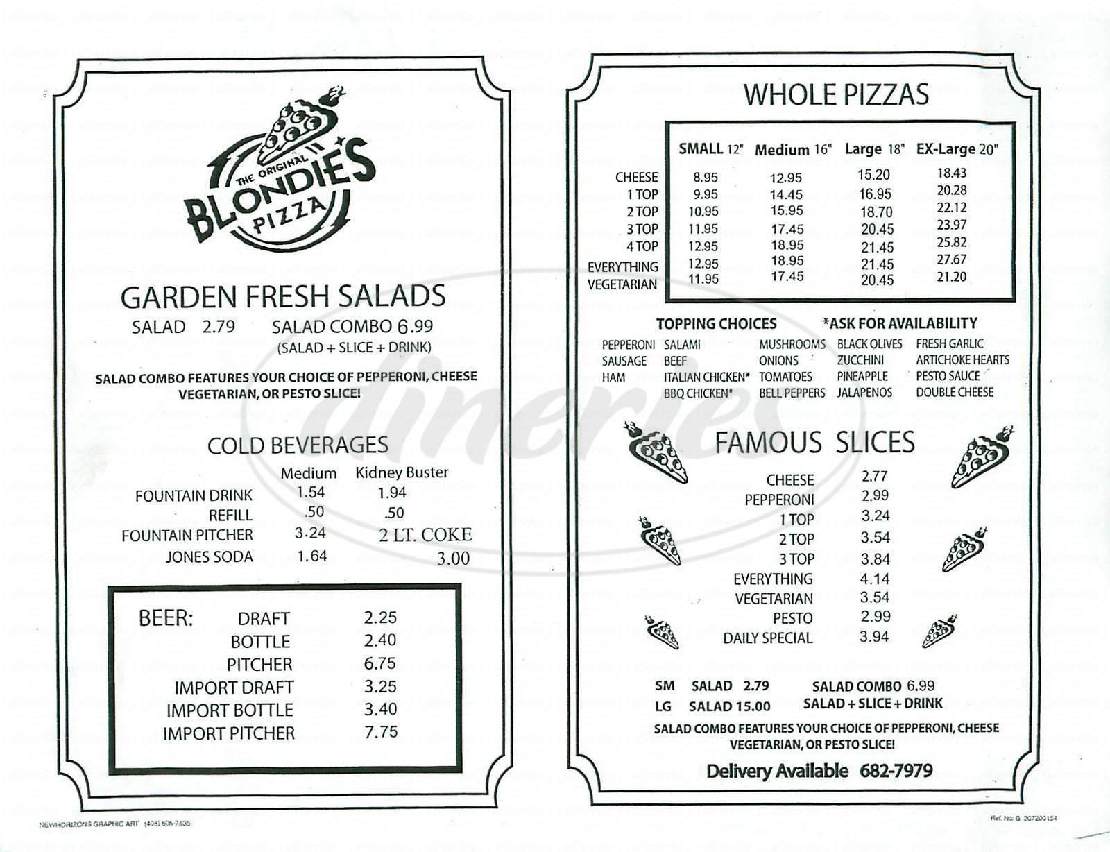 menu for Blondies Pizza