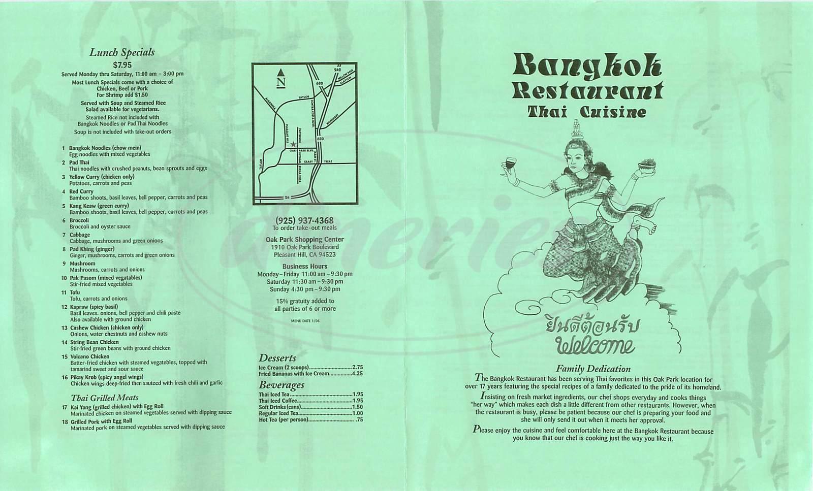 menu for Bangkok Restaurant