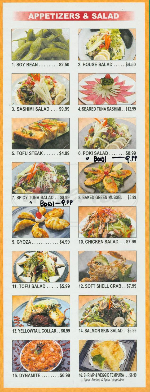 menu for Yen Sushi & Roll