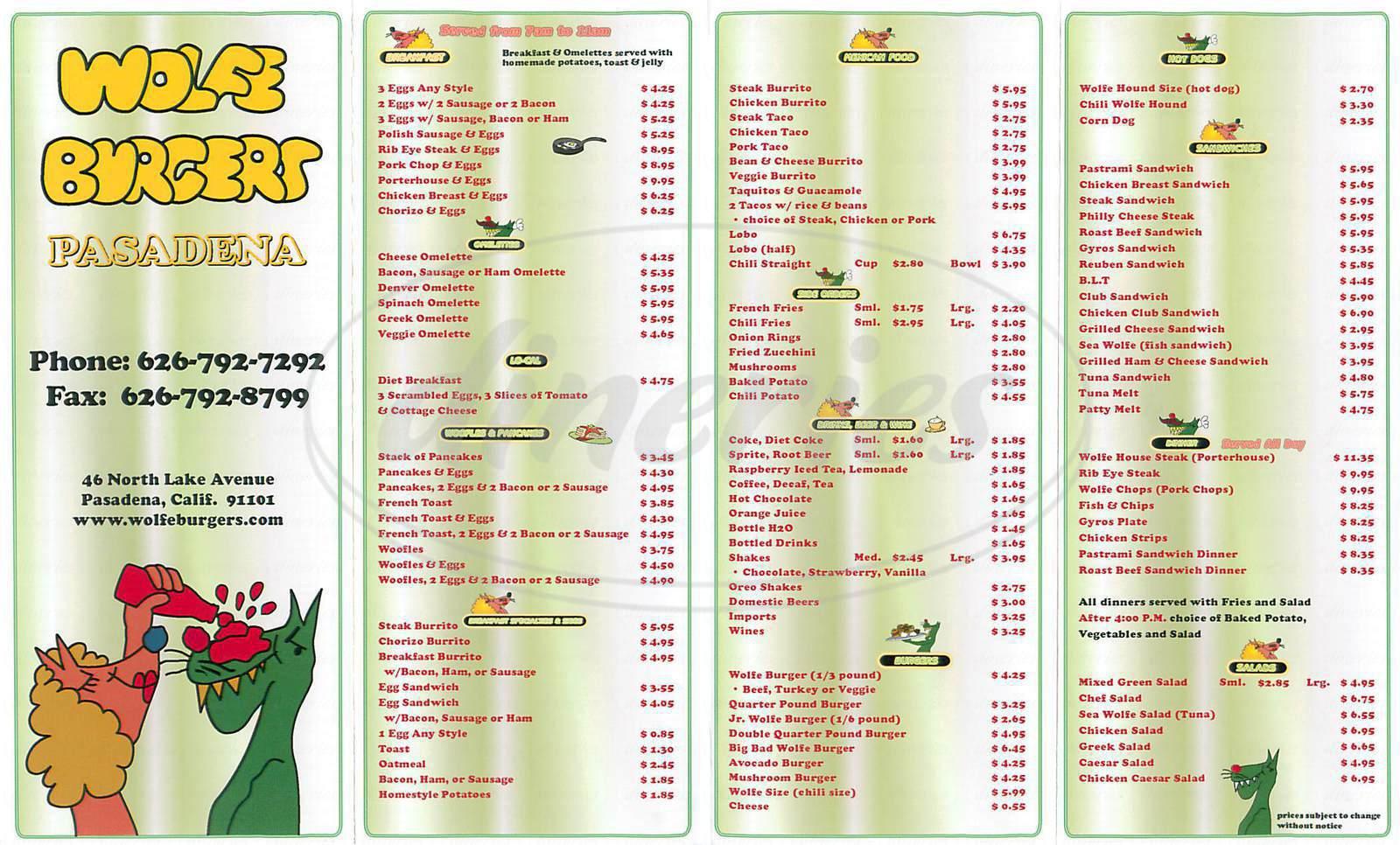menu for Wolfe Burgers