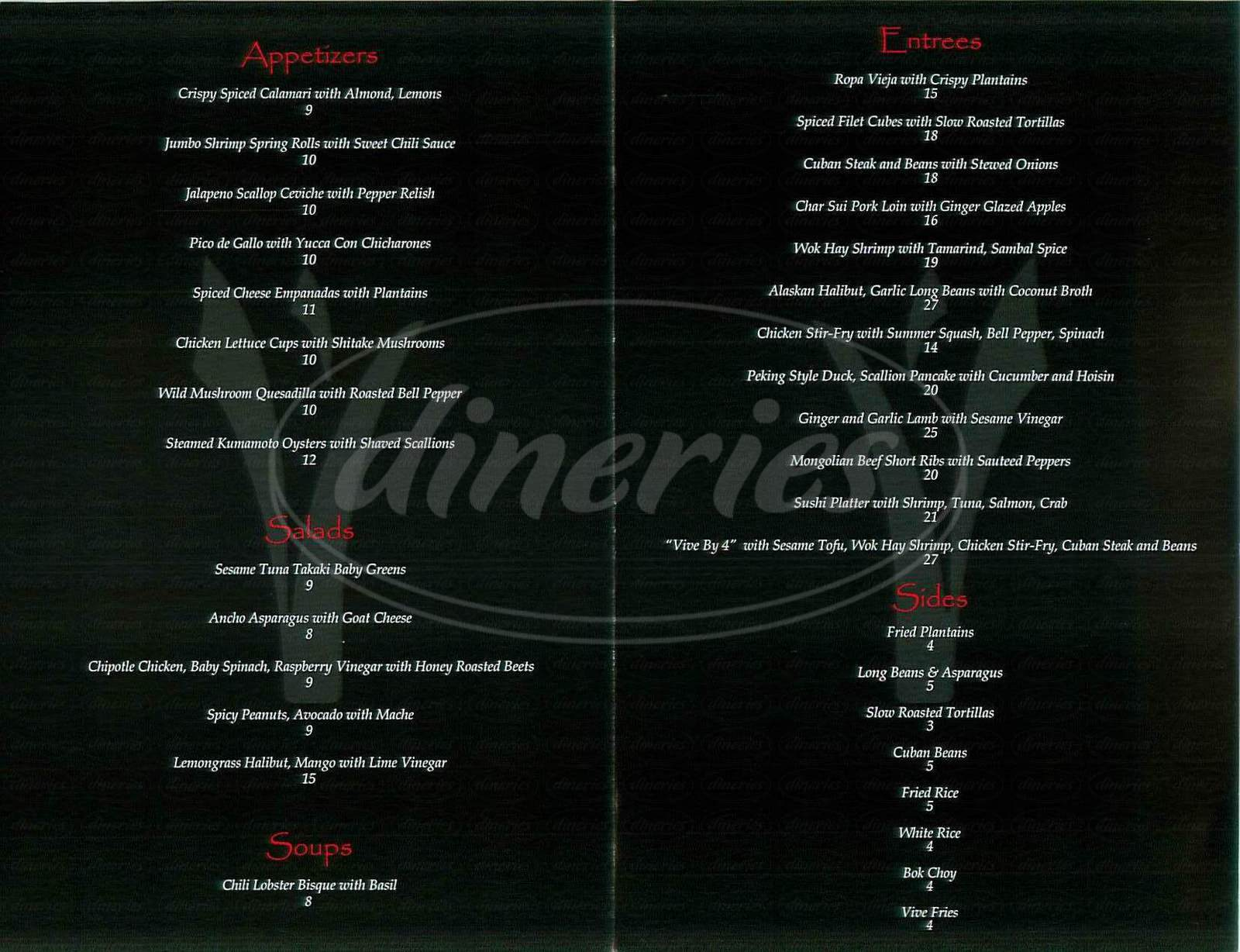 menu for Vive Latin Asian Fusion