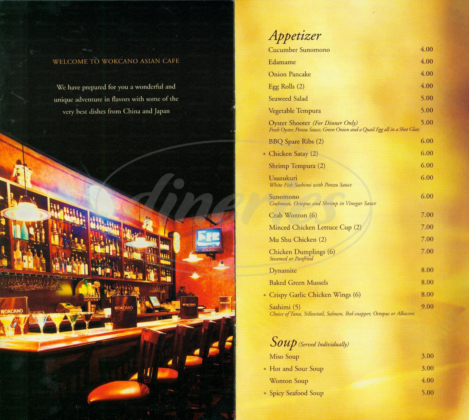 menu for Wokcano