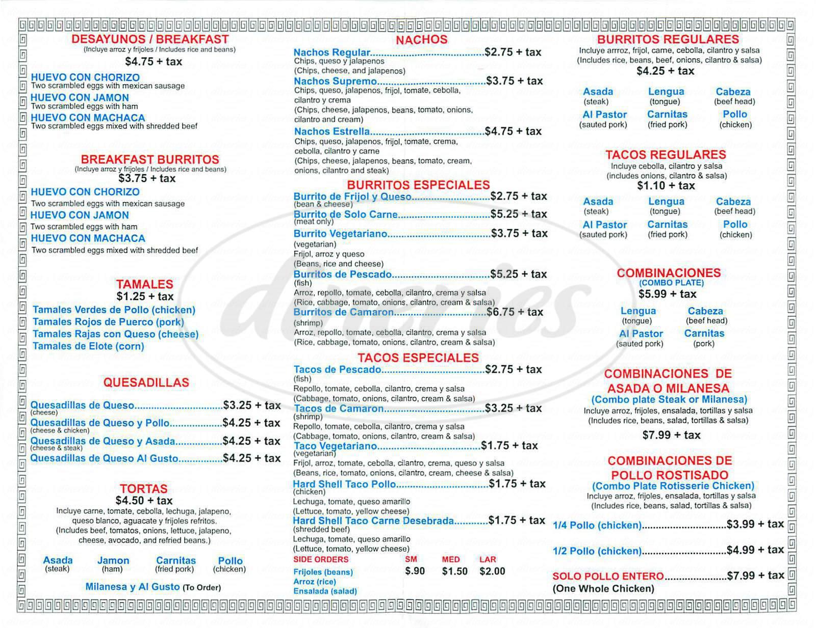 menu for Viva Tacos La Estrella