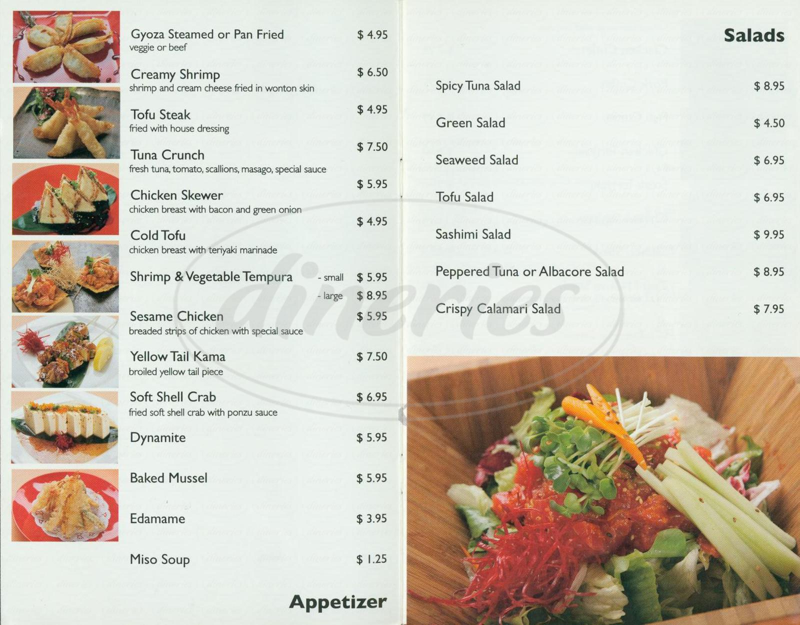 menu for Zushi Restaurant