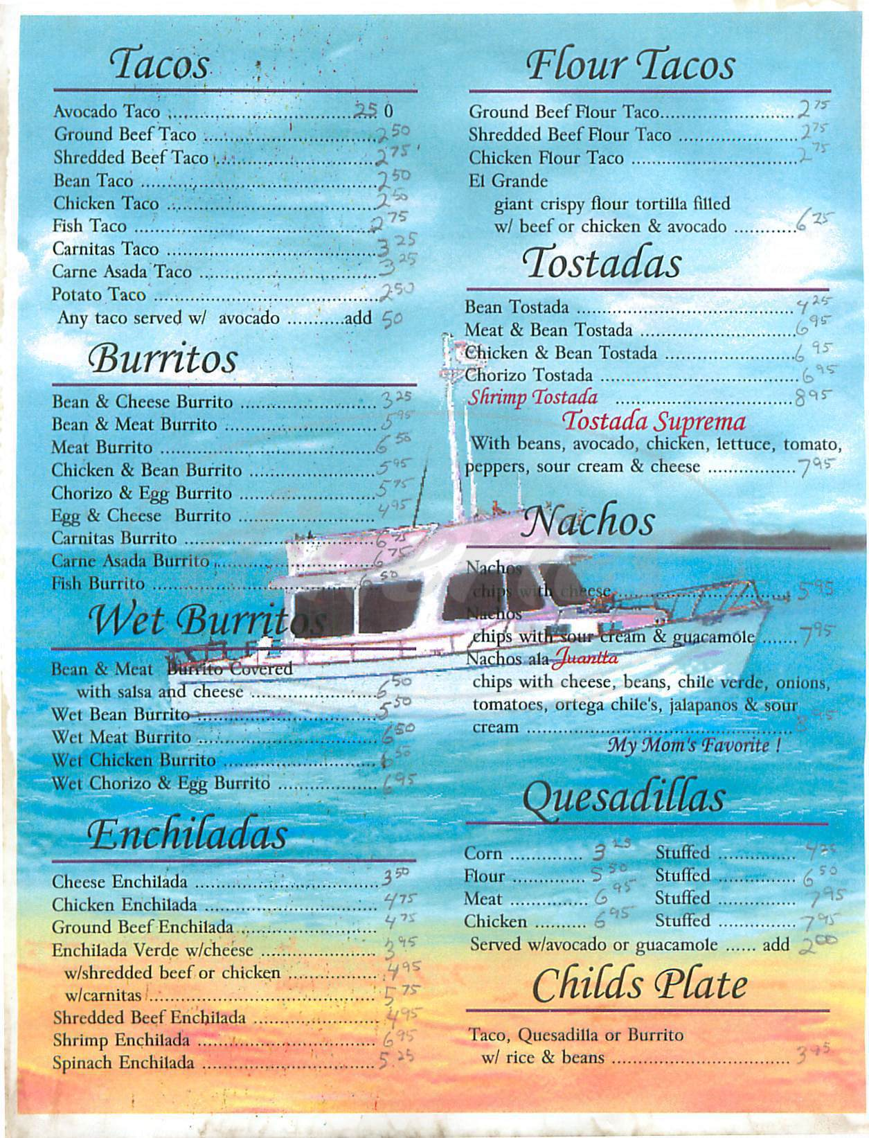 menu for Daves Mexican Restaurant
