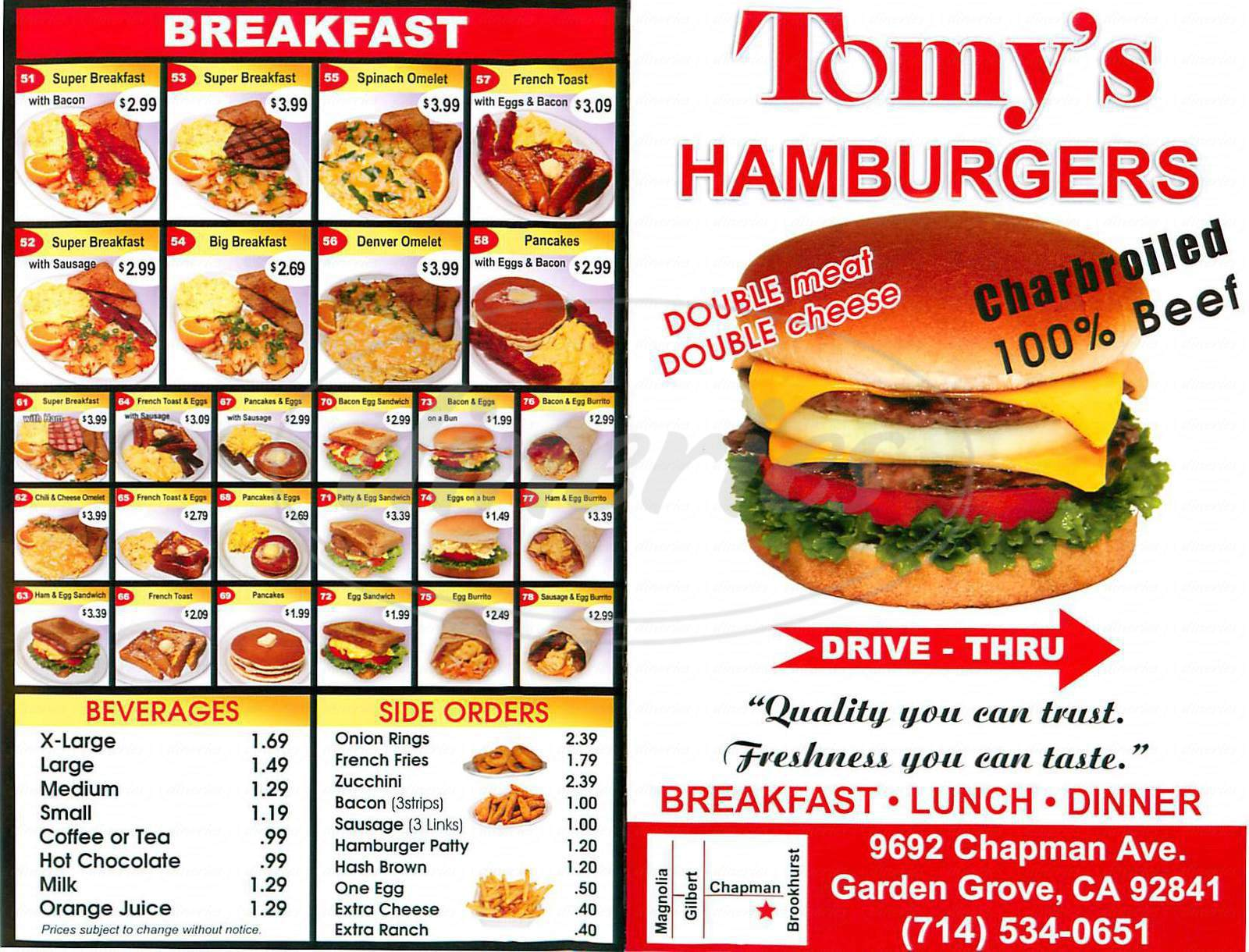 menu for Tomy's Hamburgers