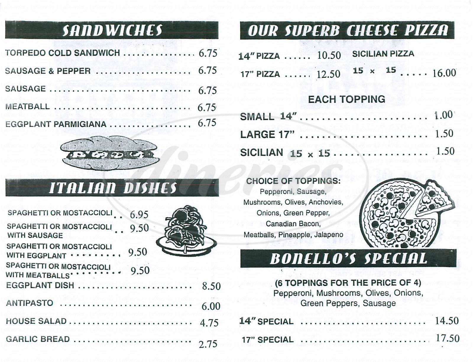 menu for Bonellos New York Pizza