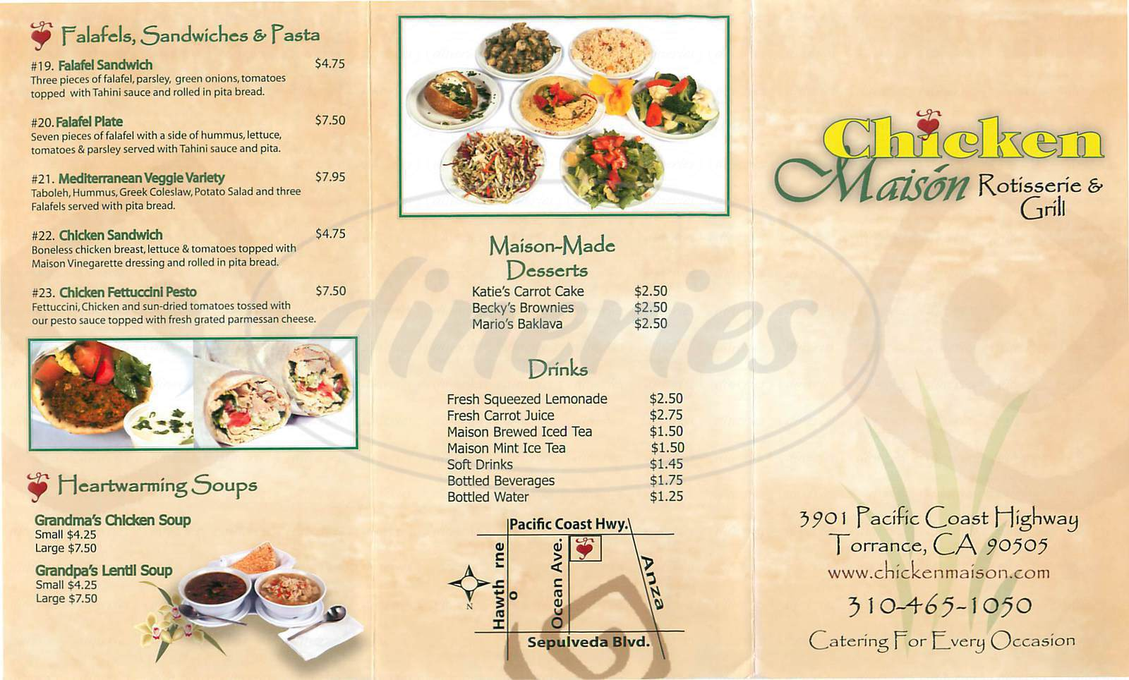 menu for Chicken Maison