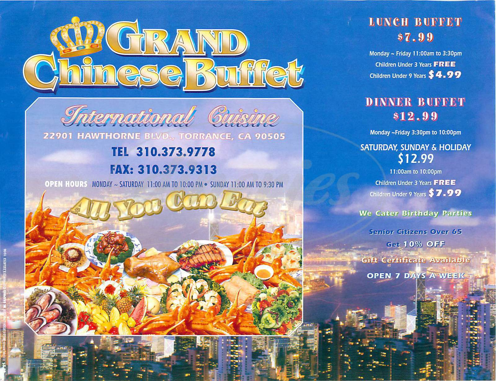menu for Grand Chinese Buffet