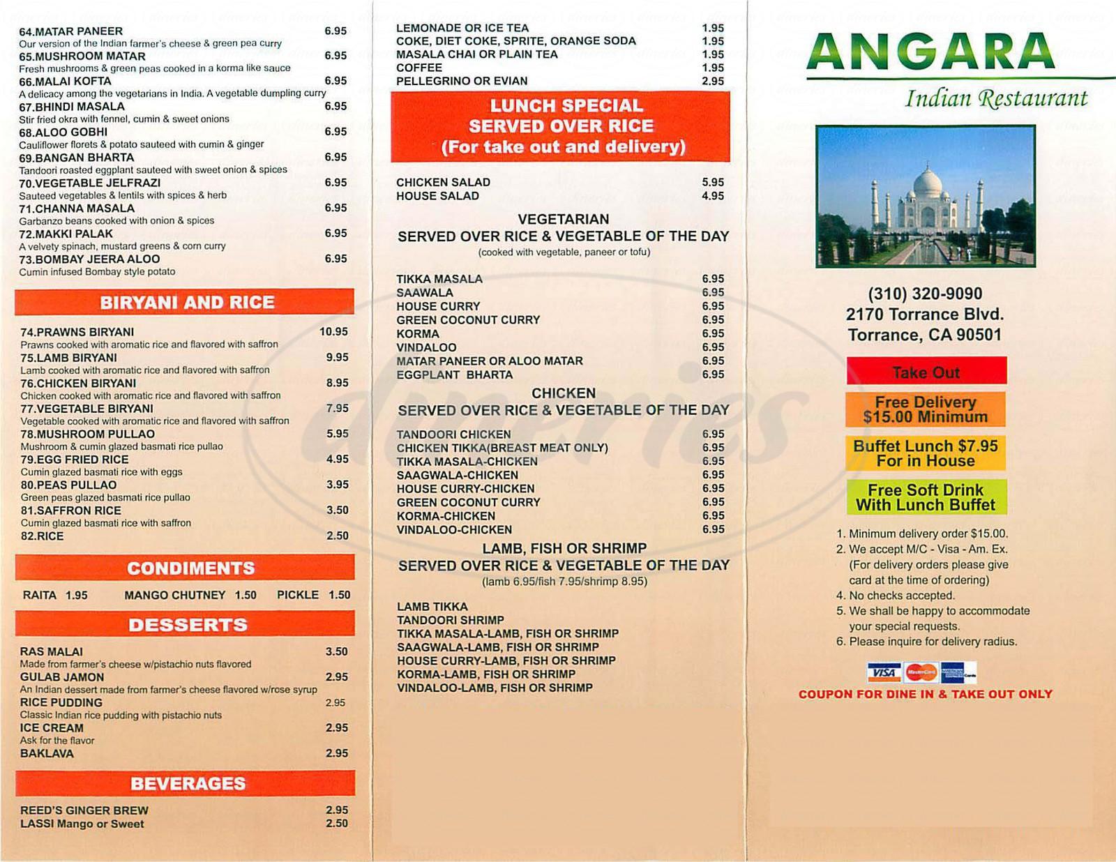 menu for Angara