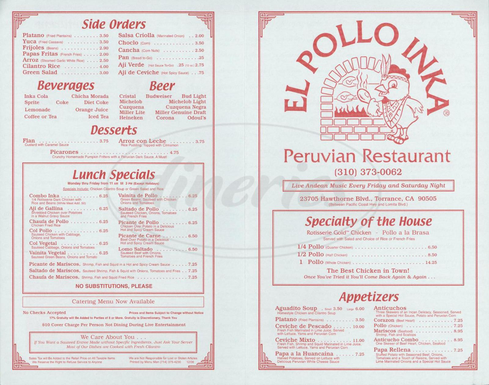menu for El Pollo Inka