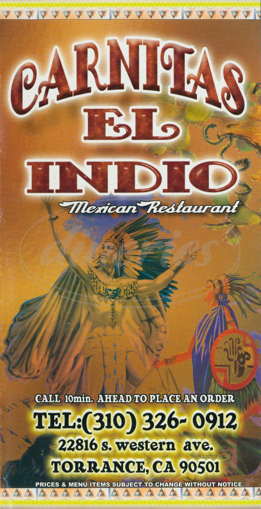 menu for Carnitas el Indio