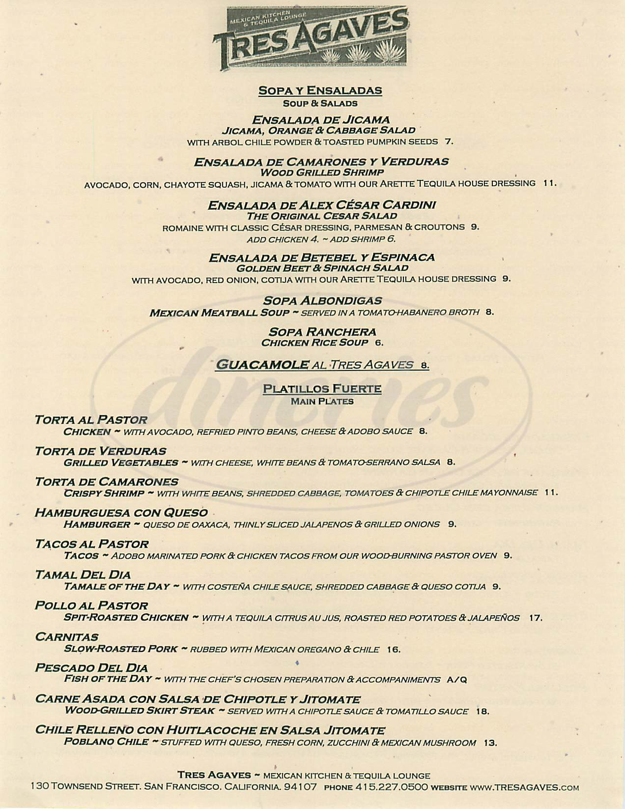 menu for Tres Agaves Restaurant