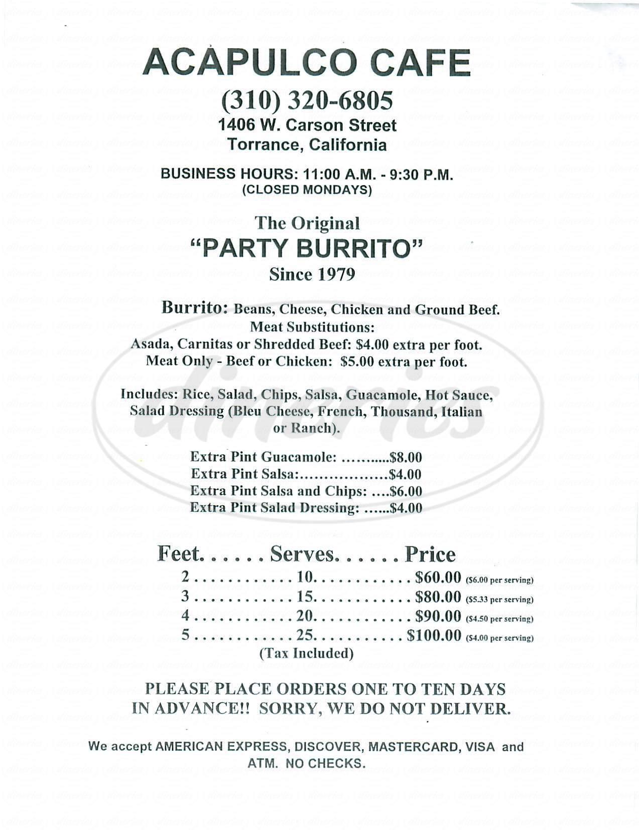 menu for Acapulco Café