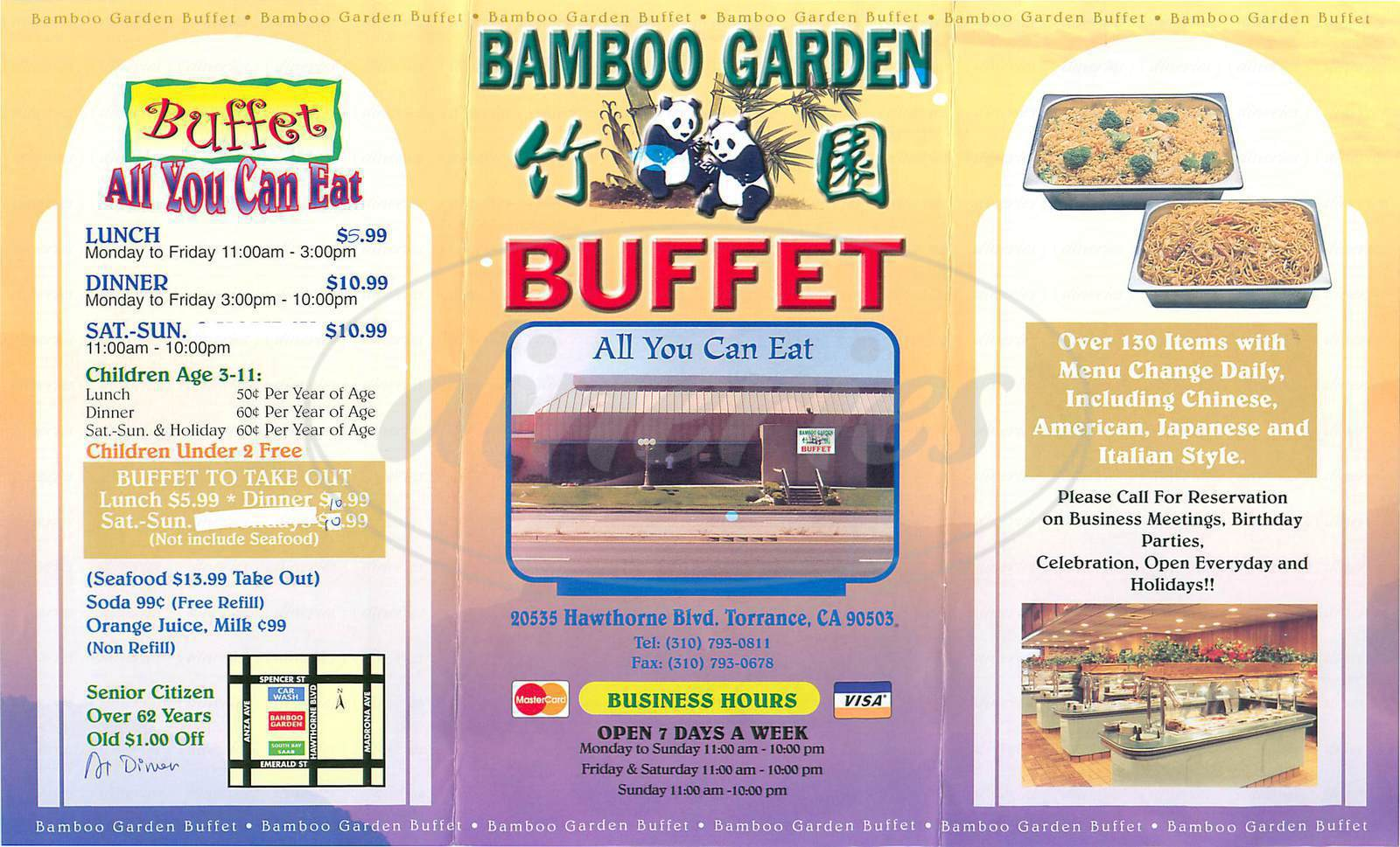 menu for Bamboo Garden Buffet