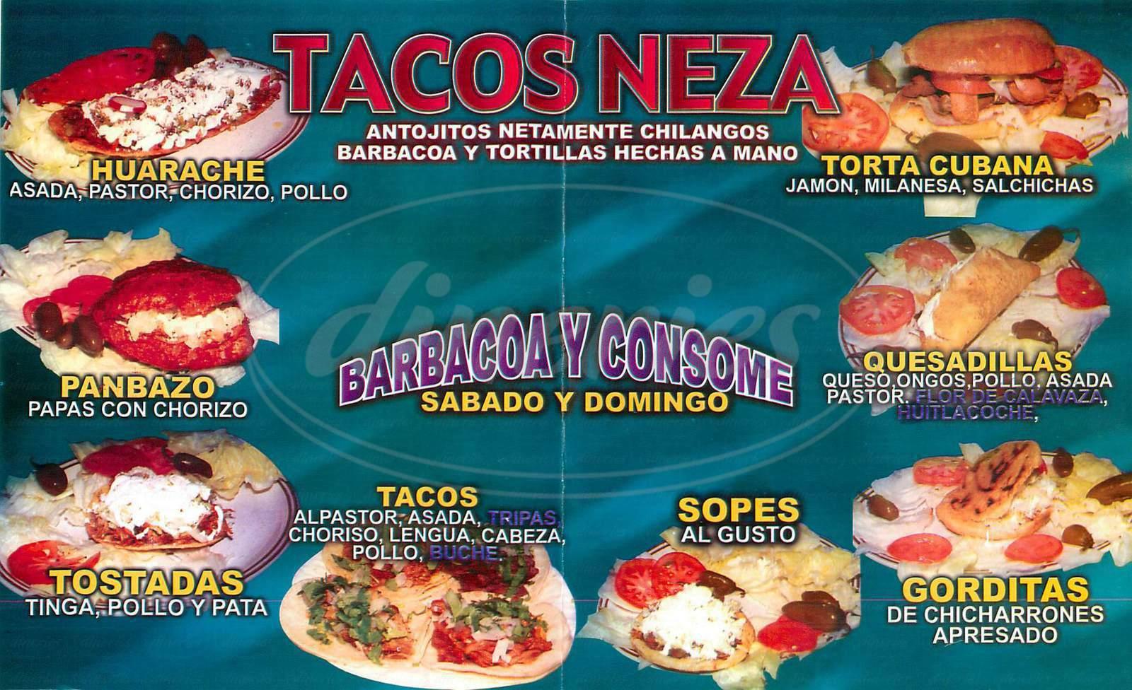 menu for Tacos Neza