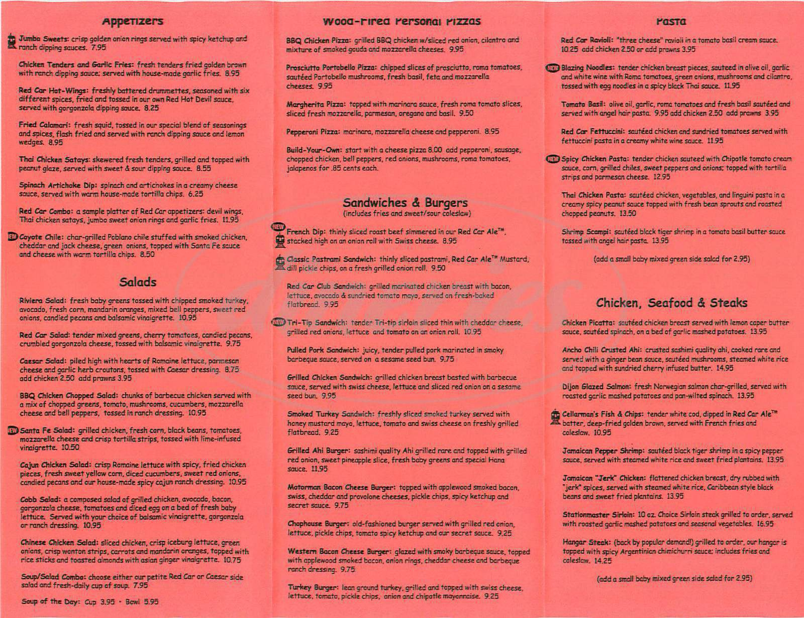 menu for Red Car Brewery & Restaurant