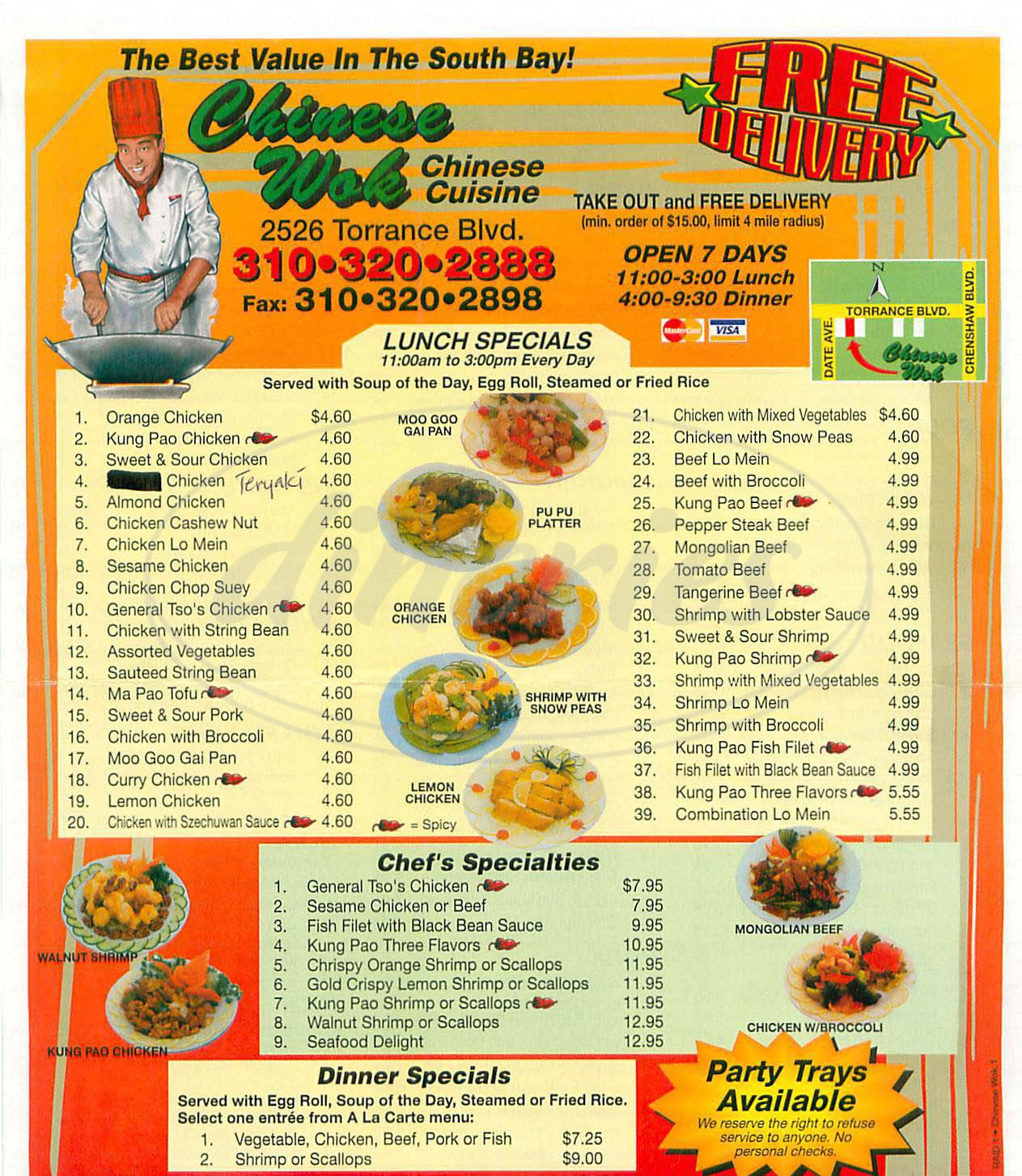 menu for The Chinese Wok