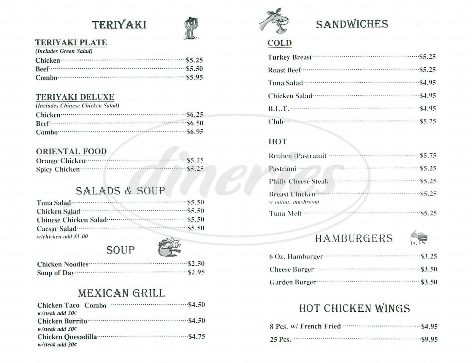 menu for The Flaming Grill