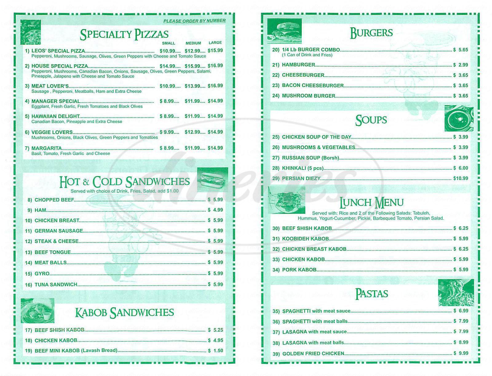 menu for Leos Pizza