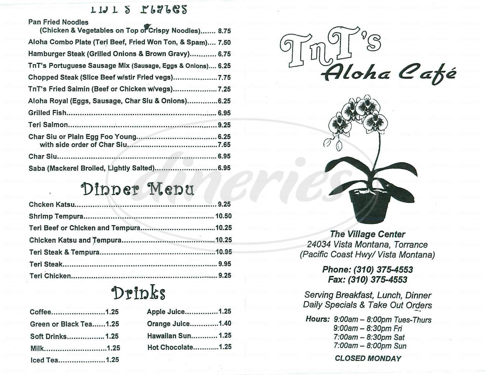 menu for Tnts Aloha Café