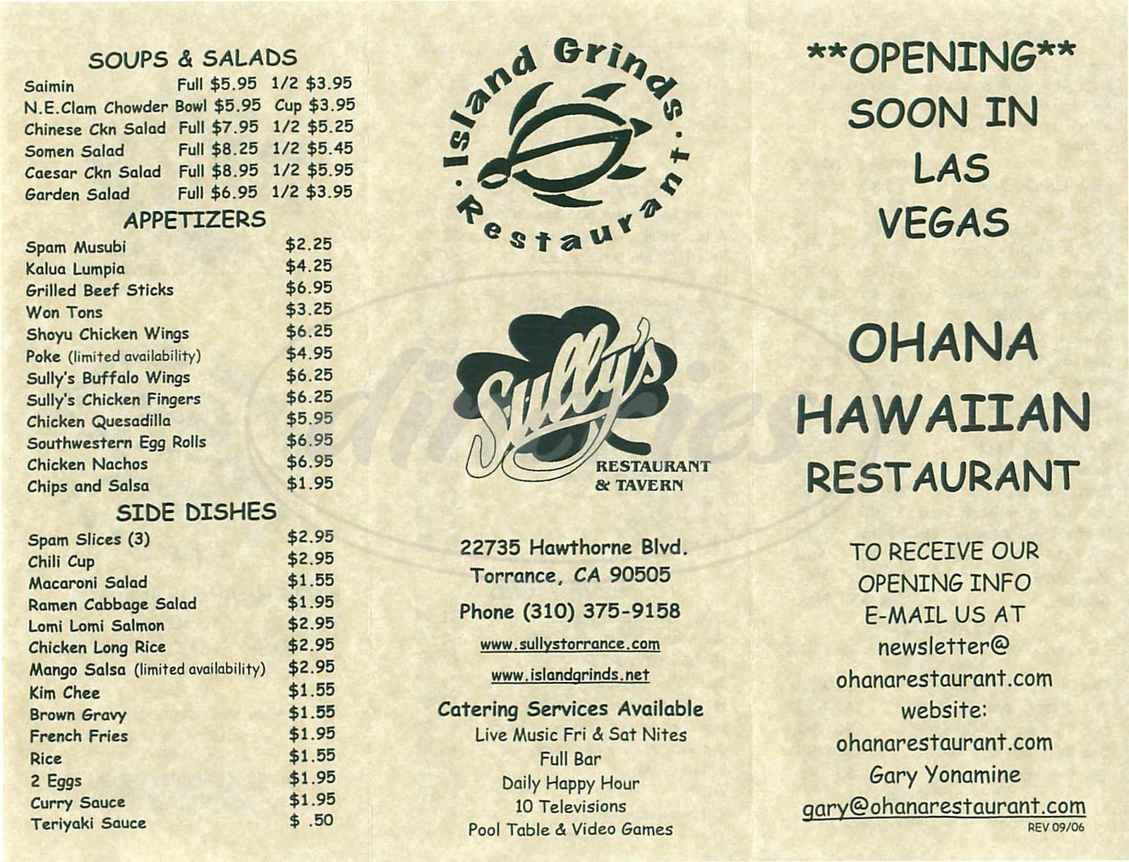 menu for Sullys Restaurant & Tavern
