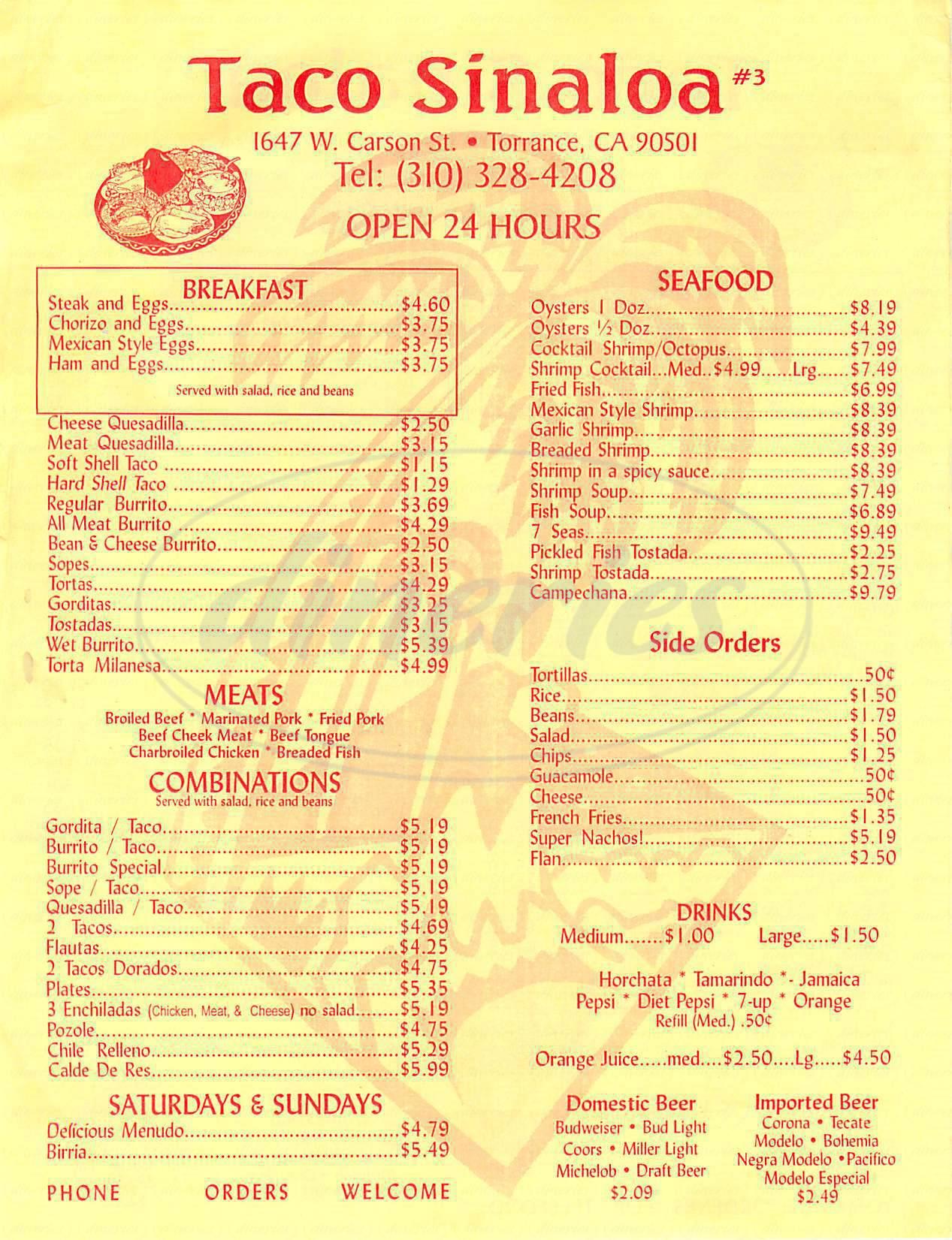 menu for Taco Sinaloa 3