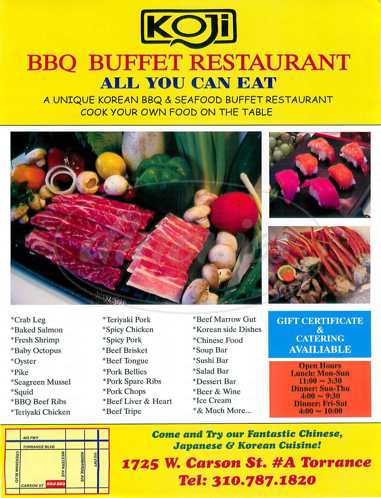 menu for Koji Bbq Buffet