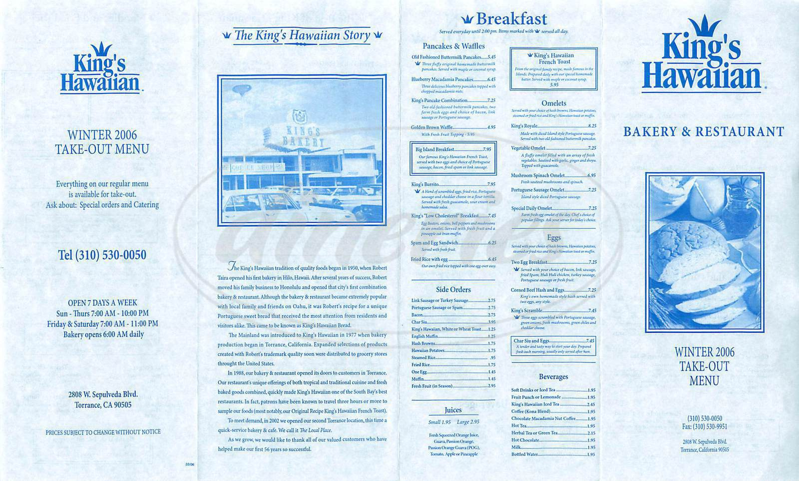 menu for Kings Hawaiian Restaurant & Bakery