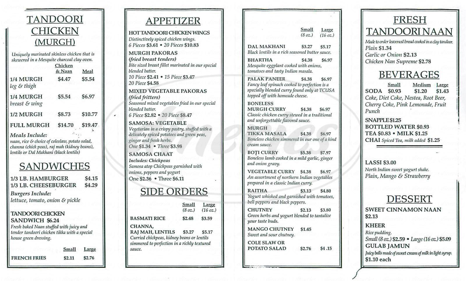 menu for Tandoori Chicken USA