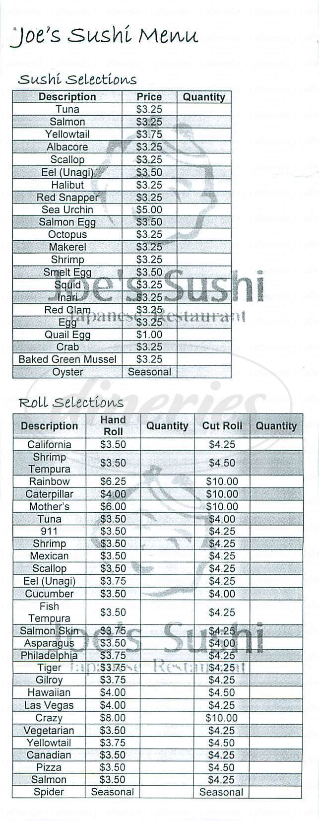menu for Joe's Sushi
