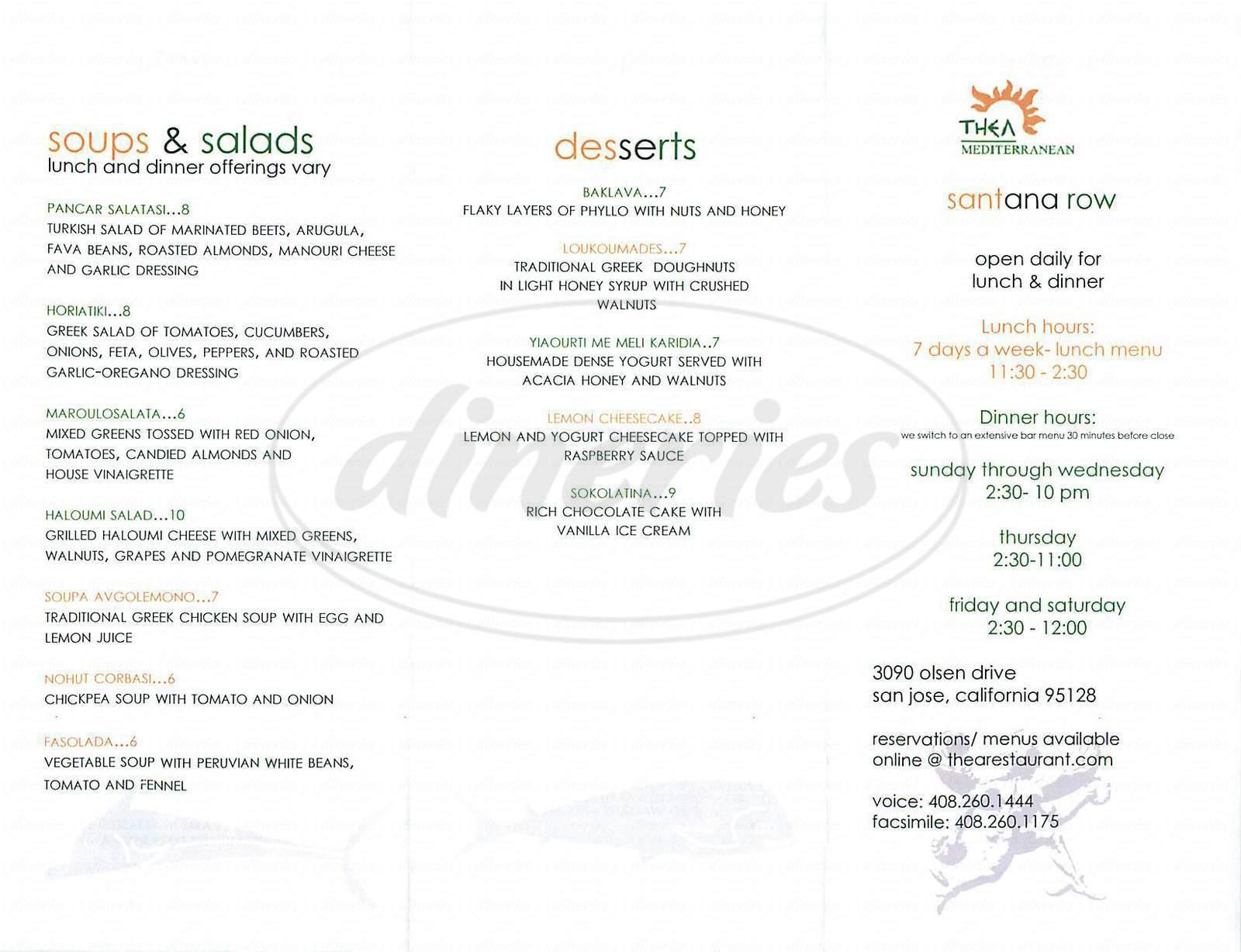 menu for Thea Mediterranean