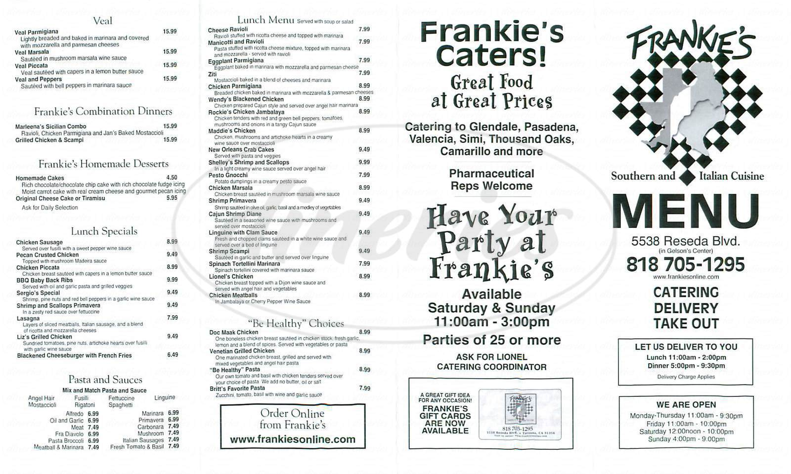 menu for Frankies Italian Kitchen