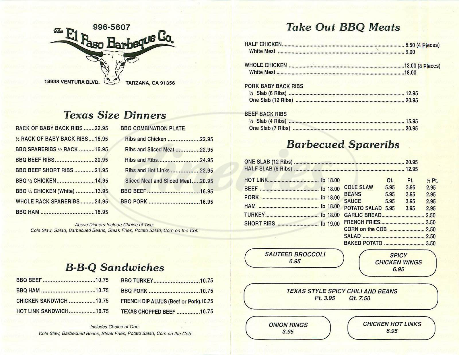 menu for El Paso Barbeque Company