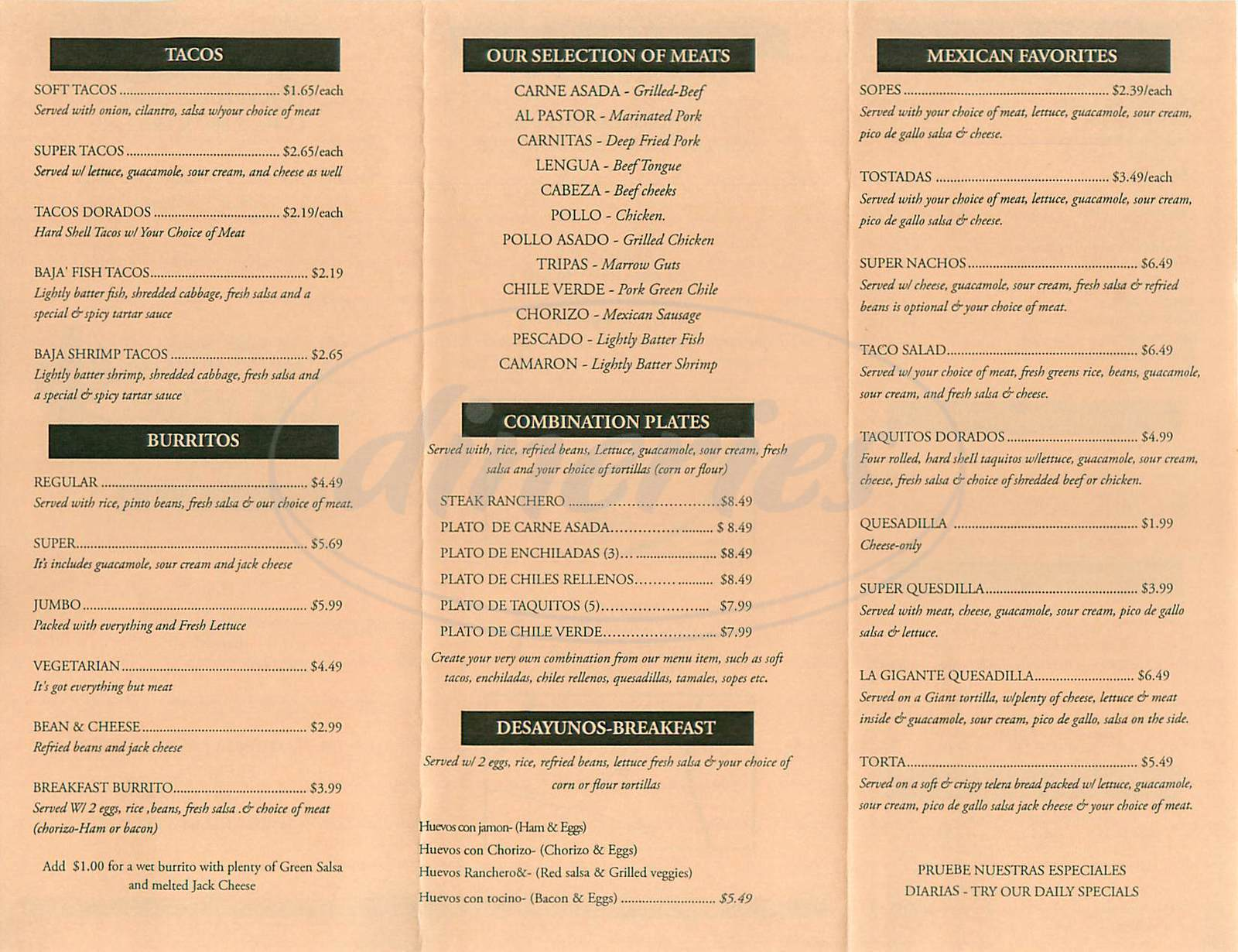menu for Taqueria Las Vegas
