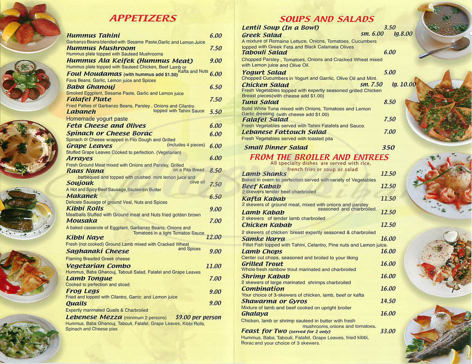 menu for Café Du Liban